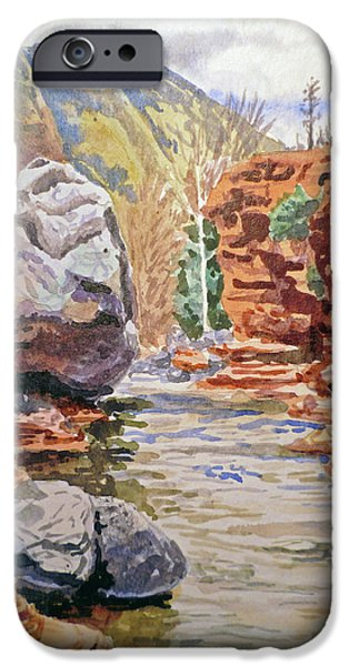 Sedona Paintings iPhone Cases - Sedona Arizona- Slide Creek iPhone Case by Irina Sztukowski