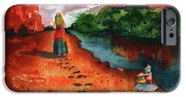 Inner Self Paintings iPhone Cases - Sedona Arizona Spiritual Vortex Zen Encounter iPhone Case by Sharon Mick