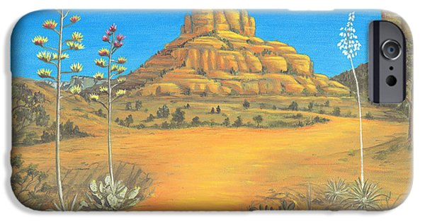 Sedona Paintings iPhone Cases - Sedona Bell Rock iPhone Case by Jerome Stumphauzer