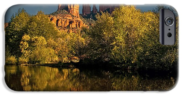 Cathedral Rock Mixed Media iPhone Cases - Sedona Moon iPhone Case by Brian Lambert