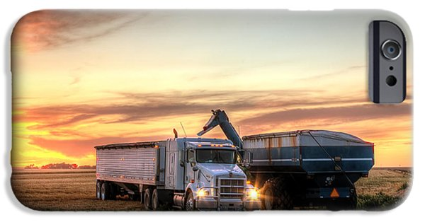 Harvest iPhone Cases - Semi Truck Unload iPhone Case by Thomas Zimmerman