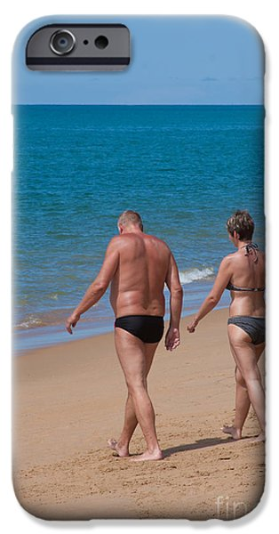 Attractive iPhone Cases - Senior Elderly  Lover Couple iPhone Case by Atiketta Sangasaeng