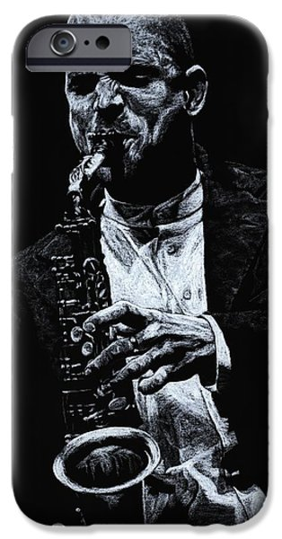 Monotone iPhone Cases - Sensational Sax iPhone Case by Richard Young