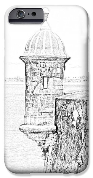 Sentry Tower Castillo San Felipe Del Morro Fortress San Juan Puerto Rico Line Art Black and White iPhone Case by Shawn O'Brien