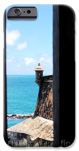 Sentry Tower View Castillo San Felipe Del Morro San Juan Puerto Rico Ink Outlines iPhone Case by Shawn O'Brien