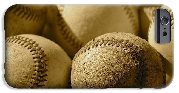 Ball And Glove iPhone Cases - Sepia Baseballs iPhone Case by Bill Owen