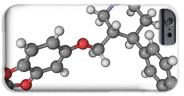 Antidepressant iPhone Cases - Seroxat Antidepressant Drug Molecule iPhone Case by Laguna Design
