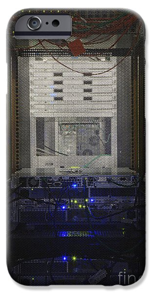 Best Sellers -  - Electrical Equipment iPhone Cases - Server System Seen Through Wire Mesh iPhone Case by Jetta Productions, Inc