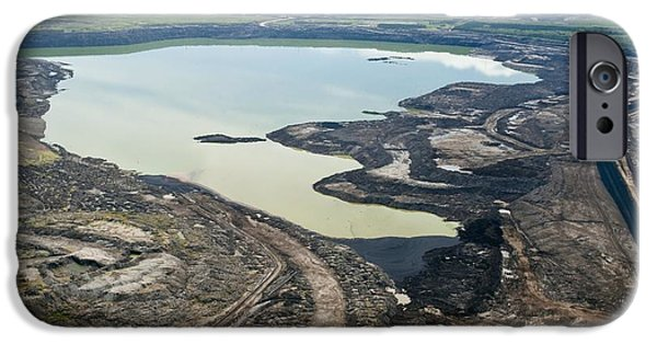 Tar Sands iPhone Cases - Settling Pond, Athabasca Oil Sands iPhone Case by David Nunuk
