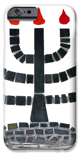 Seven-branched Temple Menorah iPhone Case by Christine Till