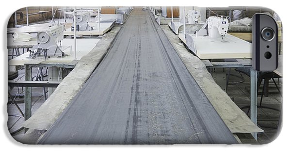 Conveyor Belt iPhone Cases - Sewing Line in an Old Factory iPhone Case by Magomed Magomedagaev