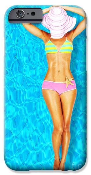 Bathing iPhone Cases - Sexy woman body in the pool  iPhone Case by Anna Omelchenko