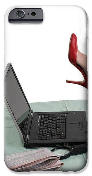 Sexy woman kicks a laptop  iPhone Case by Ilan Rosen