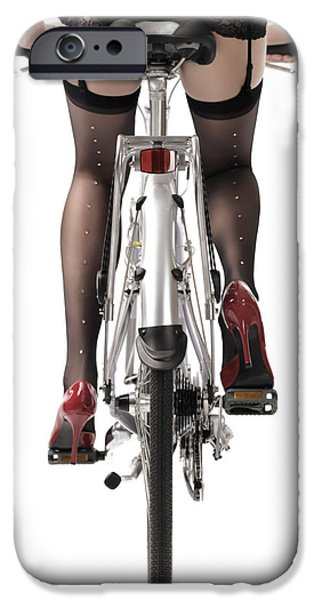 Young iPhone Cases - Sexy Woman Riding a Bike iPhone Case by Oleksiy Maksymenko