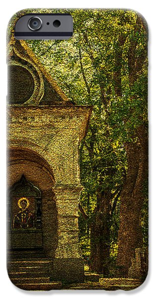 Shaded Chapel. Golden Green Series iPhone Case by Jenny Rainbow