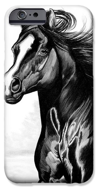 Drawing Of A Horse iPhone Cases - Shading of a horse in Bic Pen iPhone Case by Cheryl Poland