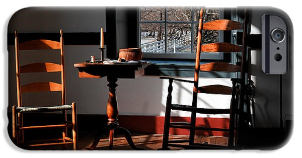 Rocking Chairs Photographs iPhone Cases - Shaker Rockers iPhone Case by Lone  Dakota Photography
