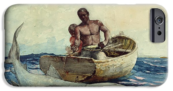 Pulling Paintings iPhone Cases - Shark Fishing iPhone Case by Winslow Homer