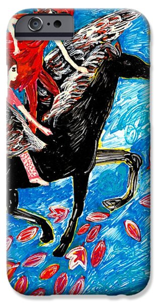 Horse Ceramics iPhone Cases - She flies with the West Wind iPhone Case by Sushila Burgess
