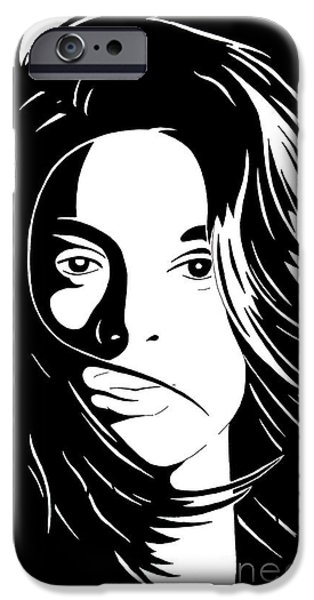 Basic Drawings iPhone Cases - She Is iPhone Case by Jack Norton