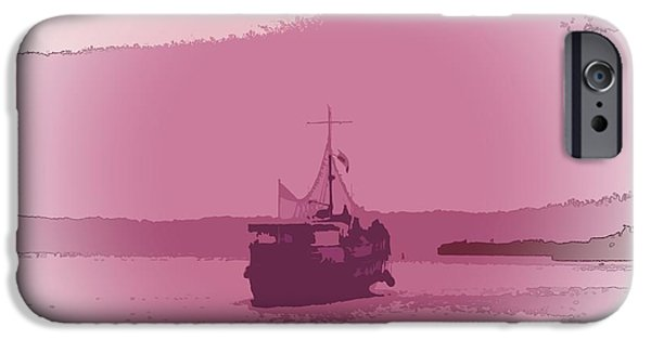 Abstract Seascape iPhone Cases - She sails iPhone Case by Sharon Lisa Clarke