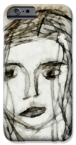 Self-portrait Mixed Media iPhone Cases - She Sat Alone 2 iPhone Case by Angelina Vick