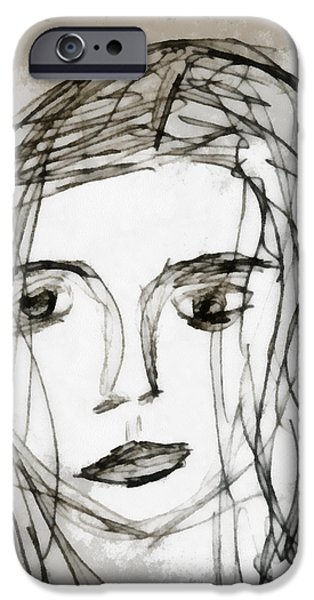 Self-portrait Mixed Media iPhone Cases - She Sat Alone iPhone Case by Angelina Vick