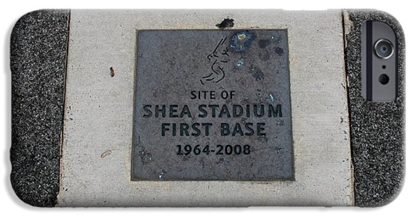 1st Base iPhone Cases - Shea Stadium First Base iPhone Case by Rob Hans