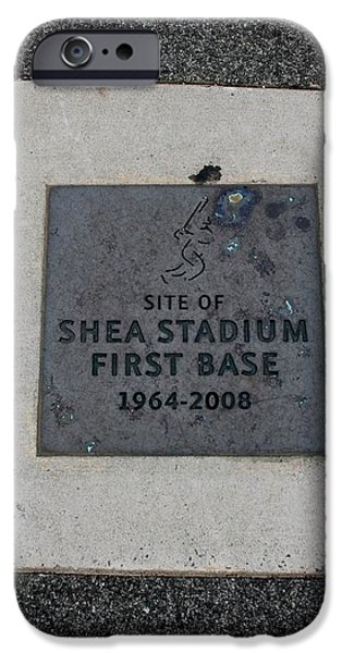 SHEA STADIUM FIRST BASE iPhone Case by ROB HANS