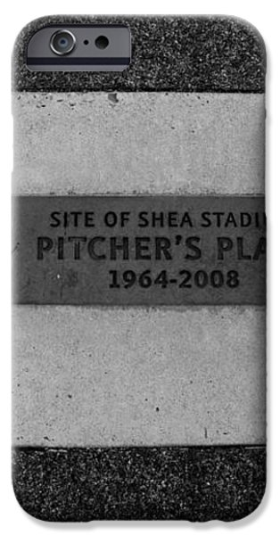 SHEA STADIUM PITCHERS MOUND in BLACK AND WHITE iPhone Case by ROB HANS