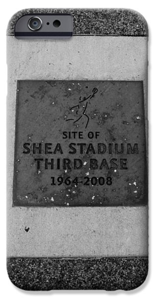 SHEA STADIUM THIRD BASE in BLACK AND WHITE iPhone Case by ROB HANS