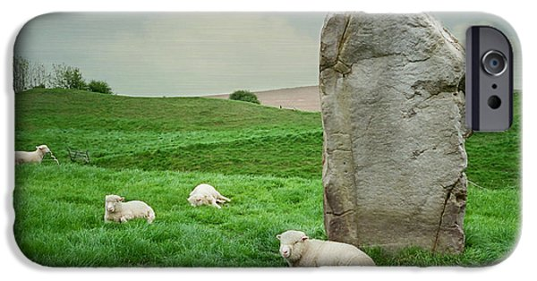 Historic Site iPhone Cases - Sheep at Avebury Stones - blue texture  iPhone Case by Marilyn Wilson