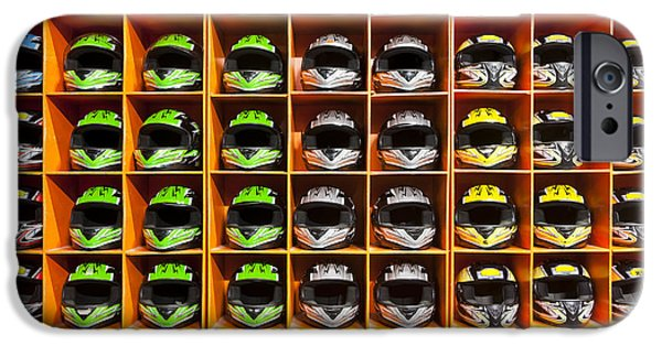 Storage Furniture iPhone Cases - Shelves Filled With Helmets For Hire iPhone Case by Corepics