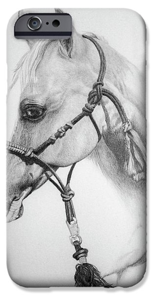 Horse Racing Drawings iPhone Cases - Shes the Gentle One iPhone Case by Tracy L Teeter