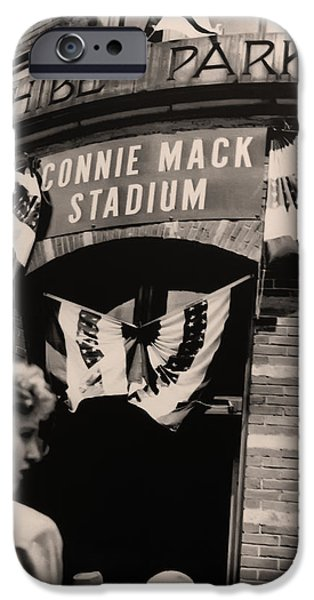 Shibe Park iPhone Cases - Shibe Park - Connie Mack Stadium iPhone Case by Bill Cannon