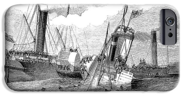 Duchess iPhone Cases - Shipwreck: Collision 1852 iPhone Case by Granger