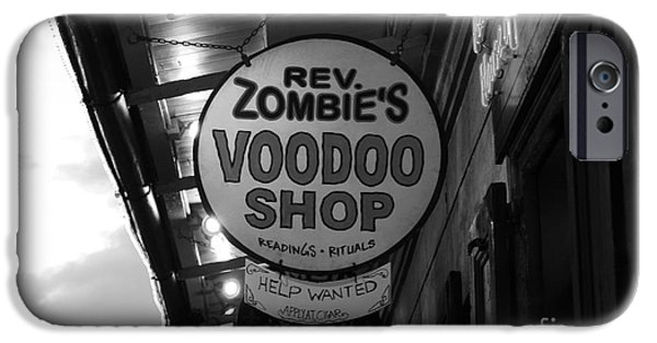 Voodoo Shop iPhone Cases - Shop Signs French Quarter New Orleans Black and White iPhone Case by Shawn O