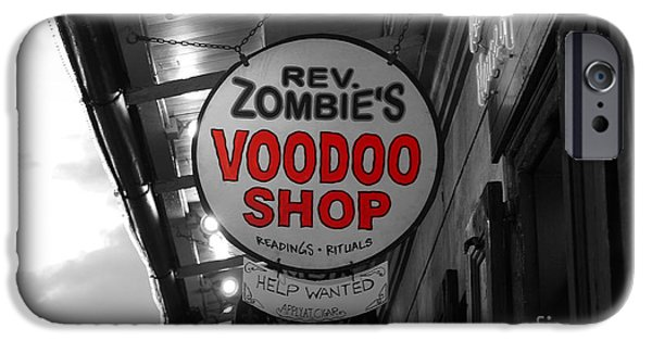 Voodoo Shop iPhone Cases - Shop Signs French Quarter New Orleans Color Splash Black and White iPhone Case by Shawn O