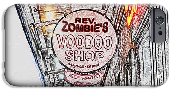 Voodoo Shop iPhone Cases - Shop Signs French Quarter New Orleans Colored Pencil Digital Art iPhone Case by Shawn O