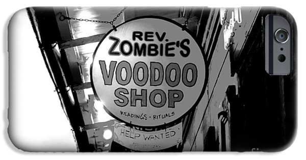 Voodoo Shop iPhone Cases - Shop Signs French Quarter New Orleans Conte Crayon Digital Art iPhone Case by Shawn O