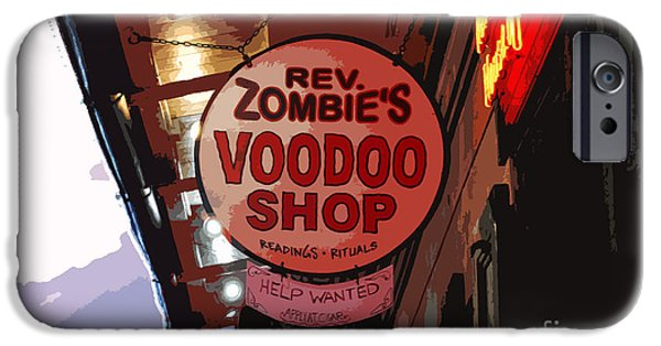 Voodoo Shop iPhone Cases - Shop Signs French Quarter New Orleans Cutout Digital Art iPhone Case by Shawn O