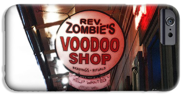 Voodoo Shop iPhone Cases - Shop Signs French Quarter New Orleans Diffuse Glow Digital Art iPhone Case by Shawn O