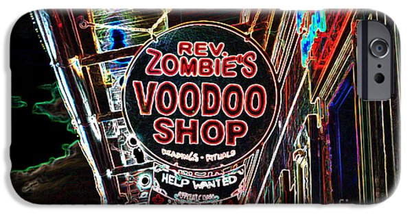 Voodoo Shop iPhone Cases - Shop Signs French Quarter New Orleans Glowing Edges Digital Art iPhone Case by Shawn O