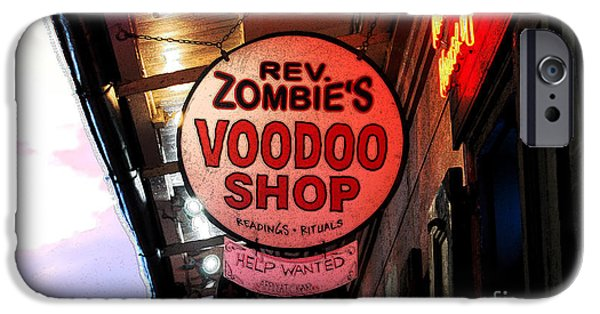 Voodoo Shop iPhone Cases - Shop Signs French Quarter New Orleans Ink Outlines Digital Art iPhone Case by Shawn O