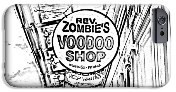 Voodoo Shop iPhone Cases - Shop Signs French Quarter New Orleans Photocopy Digital Art iPhone Case by Shawn O