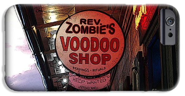 Voodoo Shop iPhone Cases - Shop Signs French Quarter New Orleans Poster Edges Digital Art iPhone Case by Shawn O