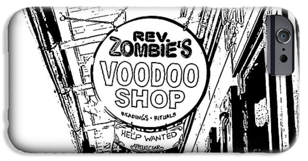 Voodoo Shop iPhone Cases - Shop Signs French Quarter New Orleans Stamp Digital Art iPhone Case by Shawn O