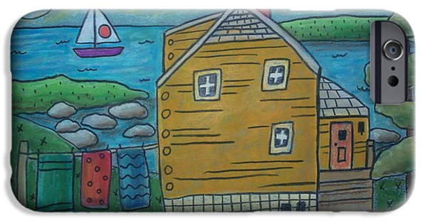 House Pastels iPhone Cases - Shore Cottage iPhone Case by Karla Gerard
