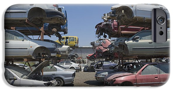 Dismantled iPhone Cases - Shot of Junkyard Cars iPhone Case by Noam Armonn