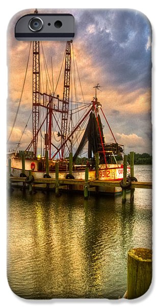 Shrimp Boat at Sunset iPhone Case by Debra and Dave Vanderlaan